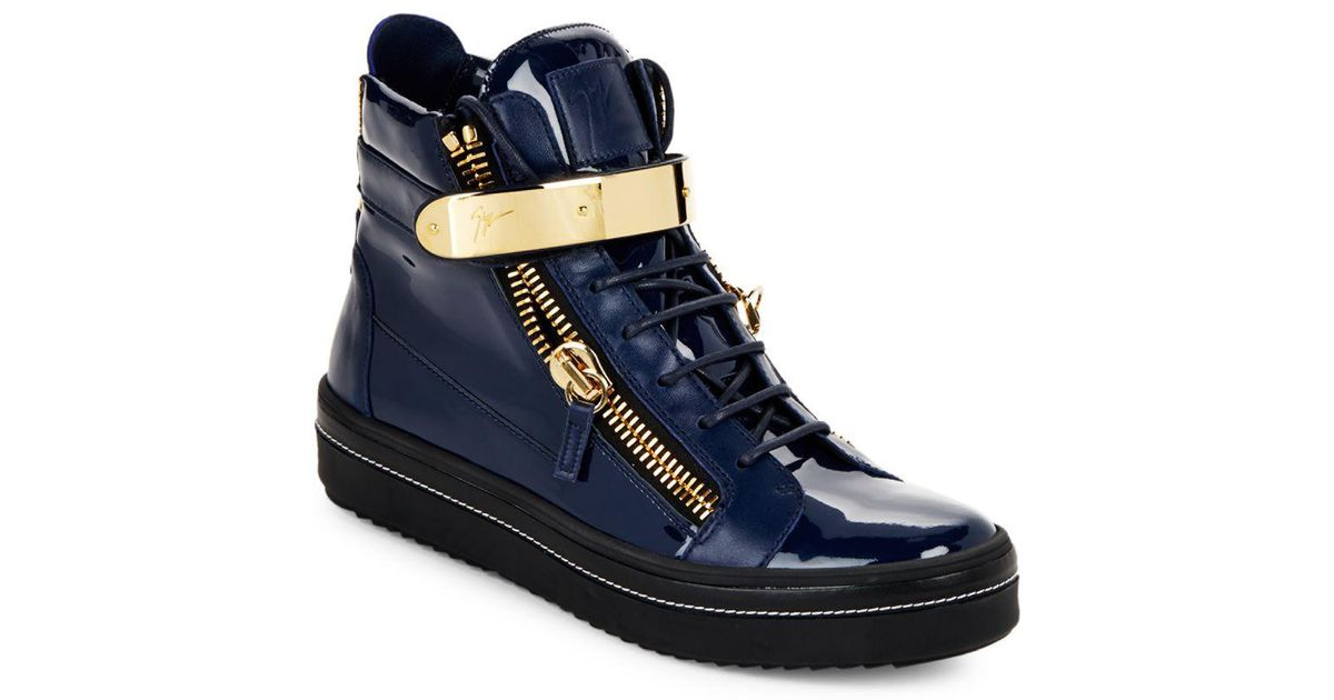 Lyst - Giuseppe Zanotti Mixed Leather & Goldtone Metal High-top Sneakers in  Blue