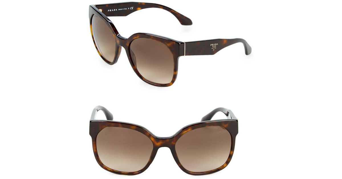 0feb96096a ... where to buy prada 57mm squared cat eye sunglasses in brown lyst 8c955  9460f