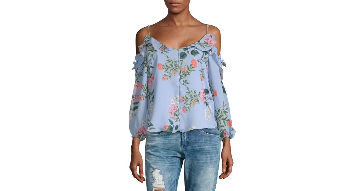 996d5868661e3b Lyst - Parker Floral Cold-shoulder Top in Blue
