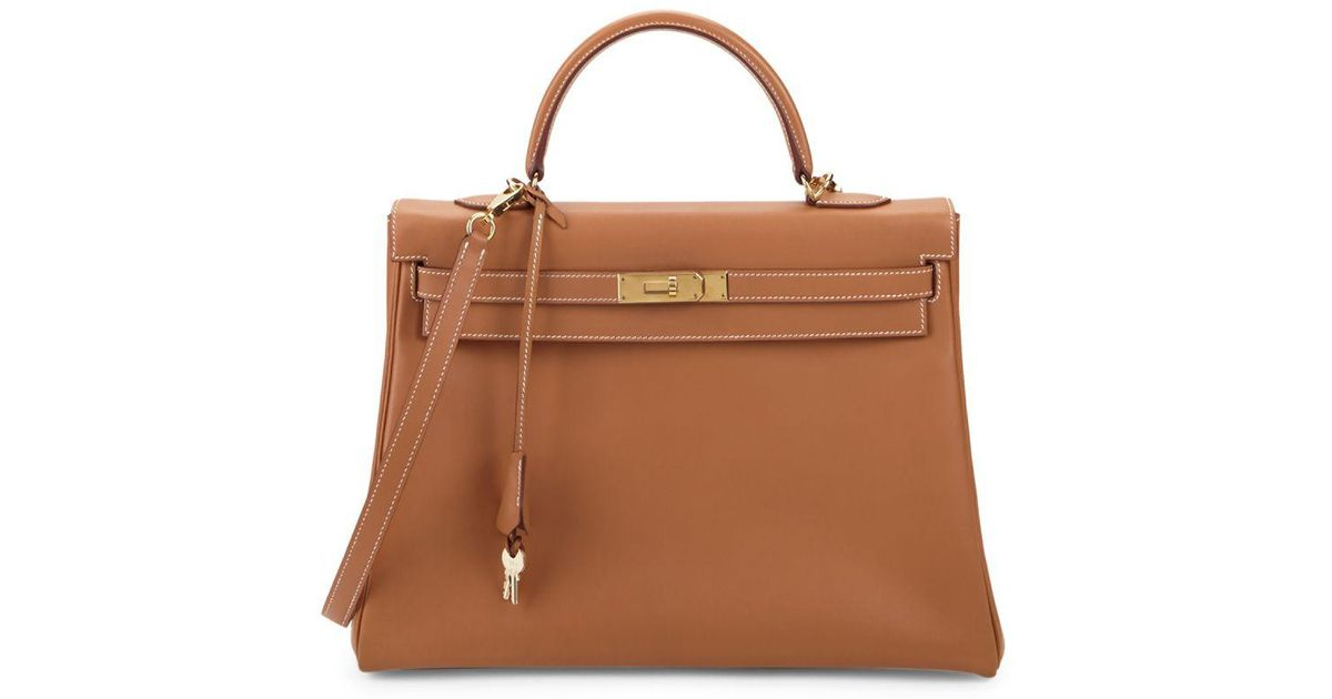 d0371b17c5c3 Hermès Vintage Kelly Leather Bag in Natural - Lyst