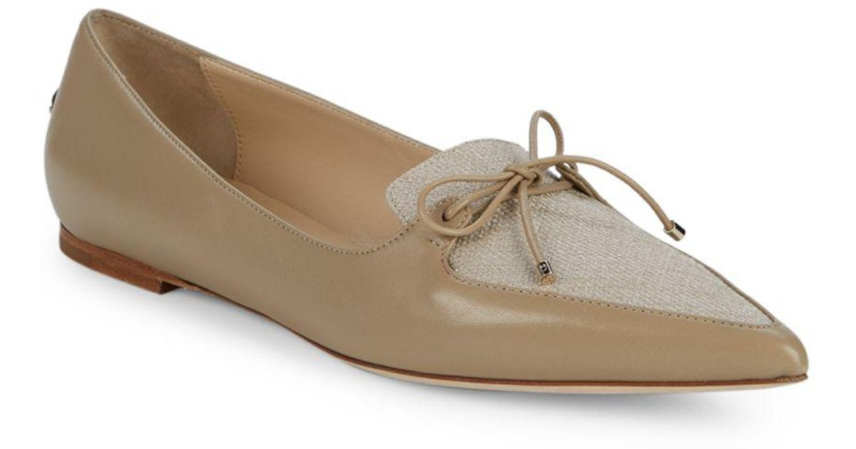 c77e1d316e5 Lyst - Jimmy Choo Genna Leather   Linen Point Toe Loafers
