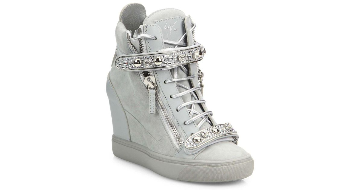 2ea818a871b Lyst - Giuseppe Zanotti Double-zip Crystal-strap Suede Wedge Sneakers in  Gray