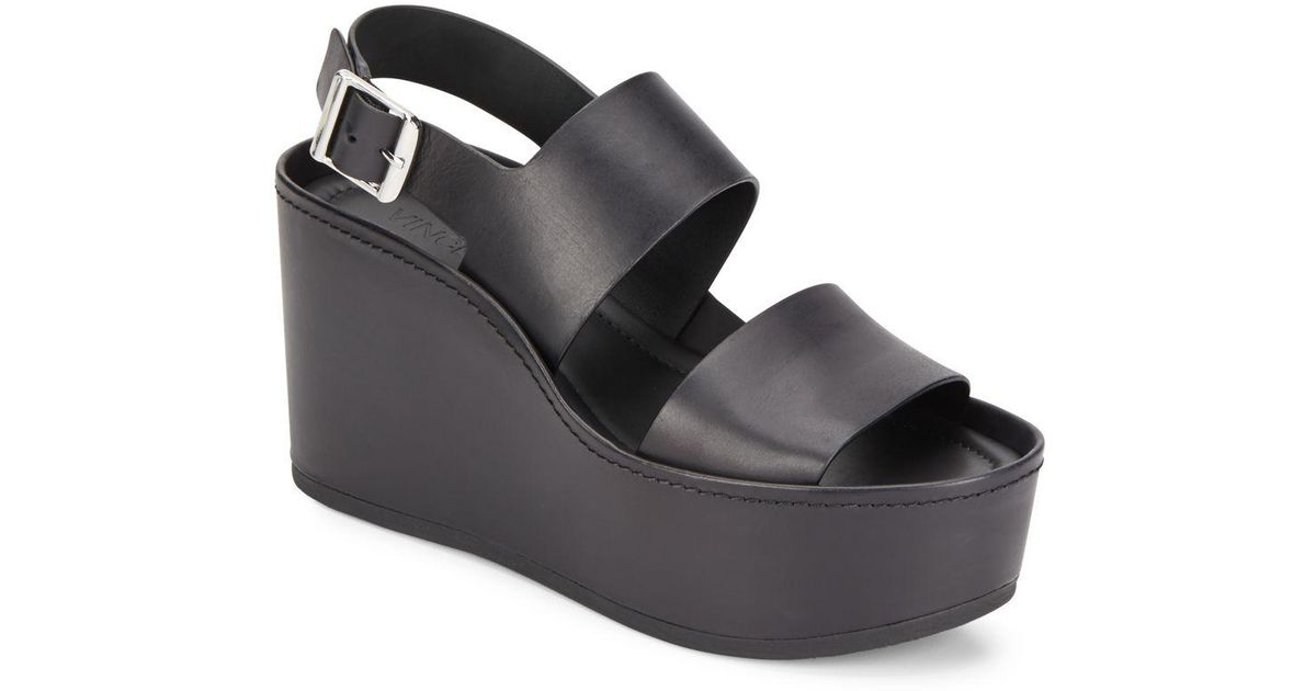 7a064ac6aed Lyst - Vince Idalia Leather Platform Wedge Sandals in Black