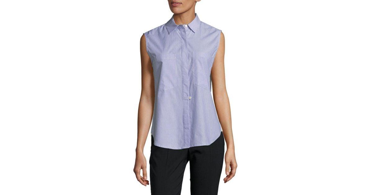 76f4742401fc6 Lyst - 10 Crosby Derek Lam Sleeveless Hidden Placket Cotton Button-down  Shirt in Blue