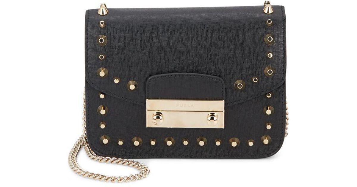38b8a99db43 Furla Julia Mini Studded Leather Crossbody Bag in Black - Lyst