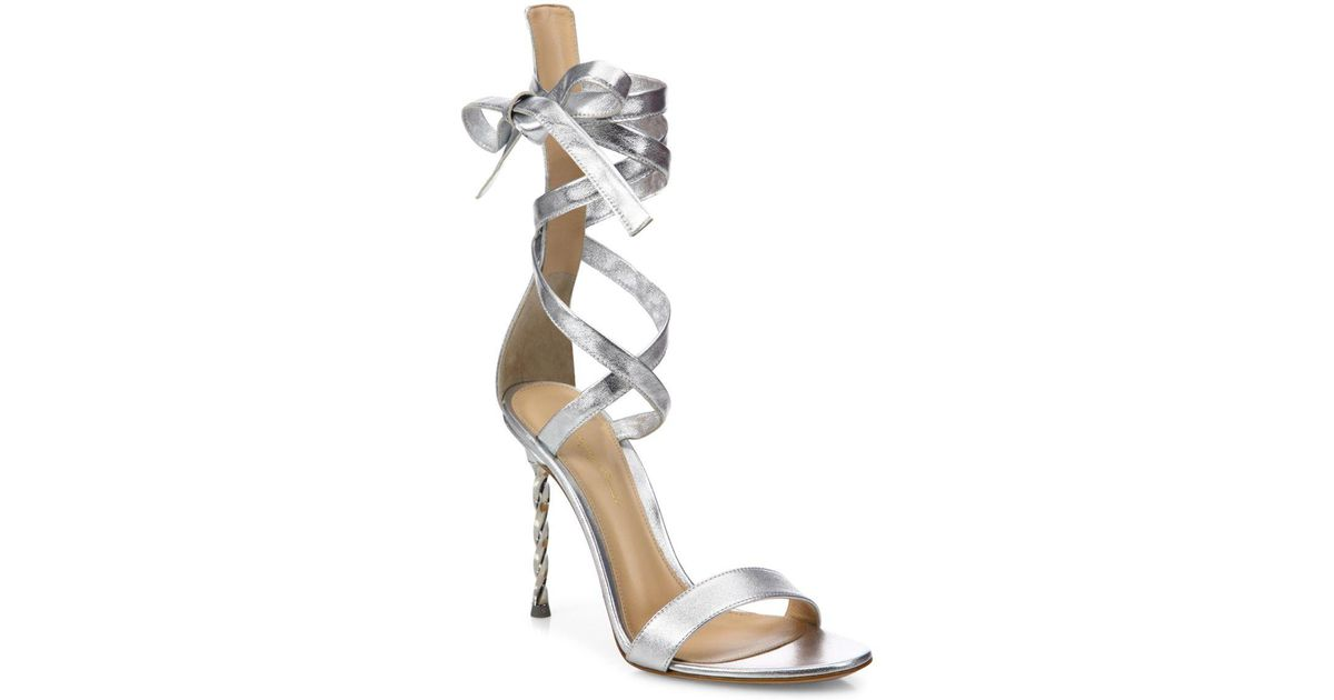 b365704a462d26 Lyst - Gianvito Rossi Folie Metallic Leather Ankle-wrap Sandals in Metallic