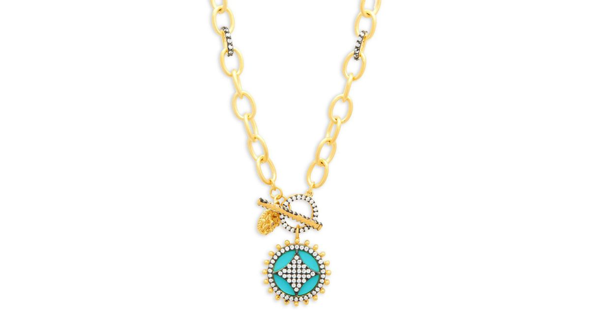 Freida Rothman Turquoise Wheel Cage Pendant On Pave Link Chain Necklace xECrBdh