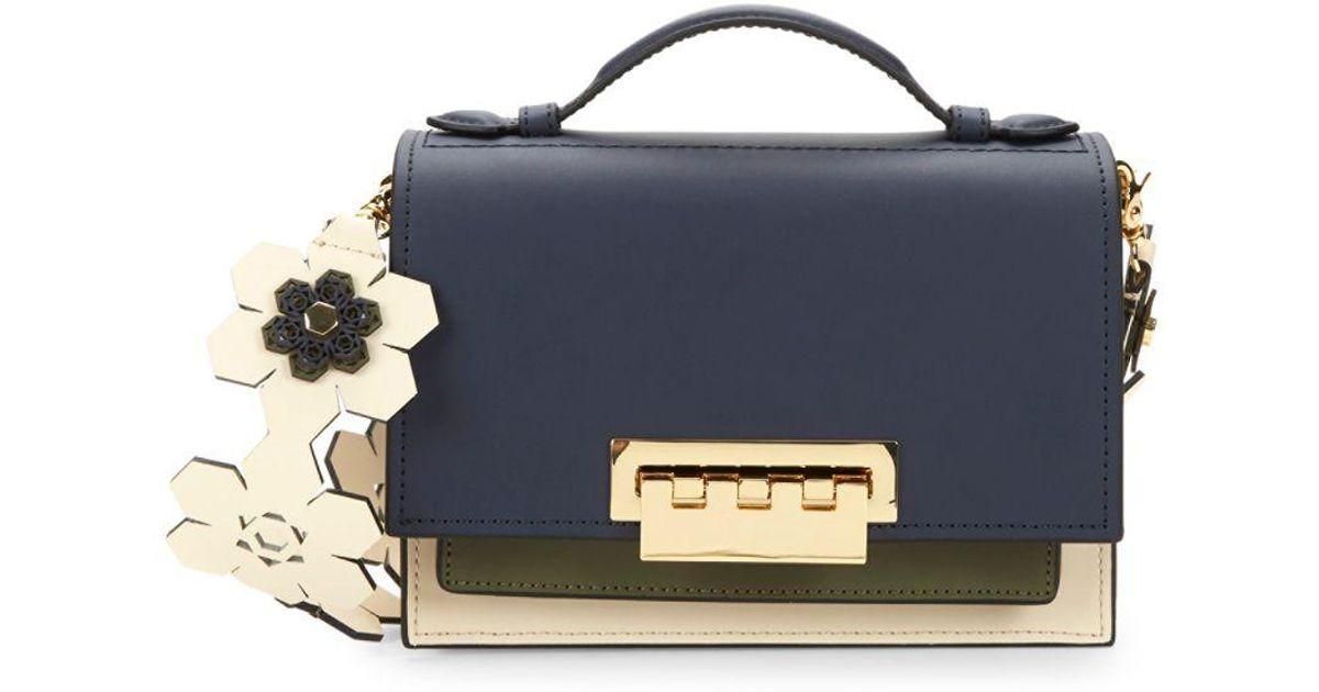 C Zac Posen Earthette Colorblock Box Leather Shoulder Bag