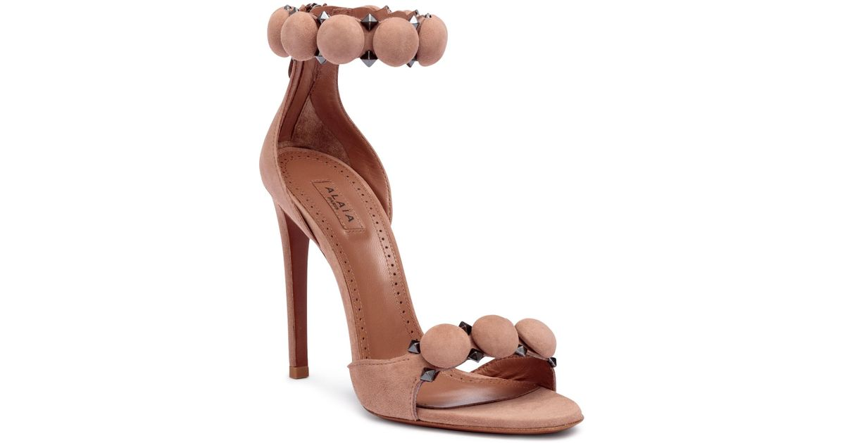 Beige suede bomb flat sandals Alaia Cheap Real lnG94TY