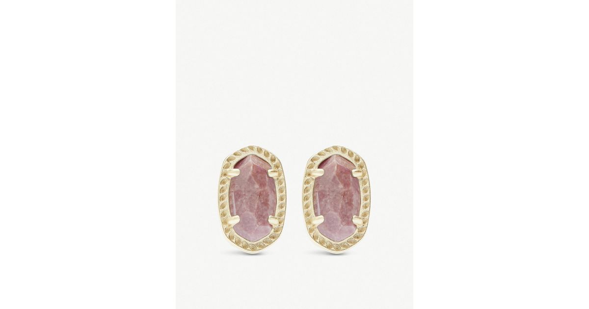 Lyst Kendra Scott Emery 14ct Gold Plated And Pink Rhodonite Earrings In Metallic