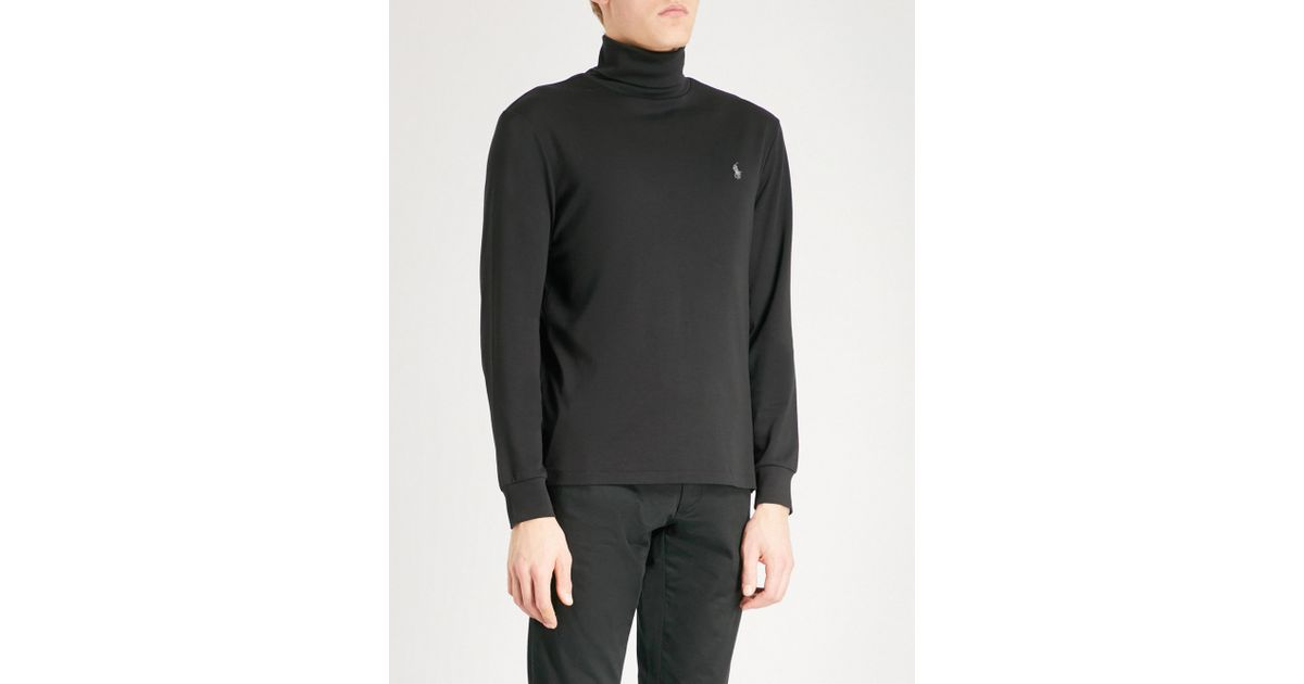 Lyst - Polo Ralph Lauren Logo-embroidered Turtleneck Cotton-jersey Top in  Black for Men