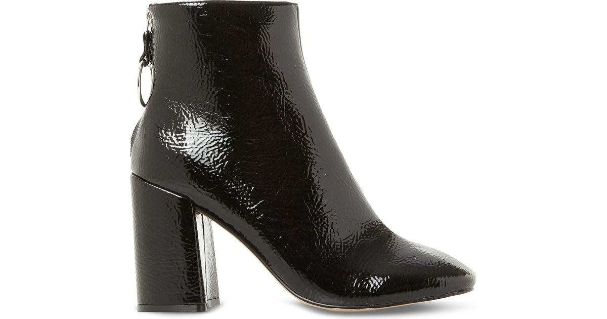 7f3a1a81f70 Lyst - Steve Madden Posed Patent-effect Heeled Ankle Boots in Black