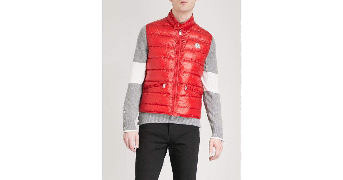 9b1637ee7 Lyst - Moncler Quilted Down-filled Shell Gilet in Red for Men