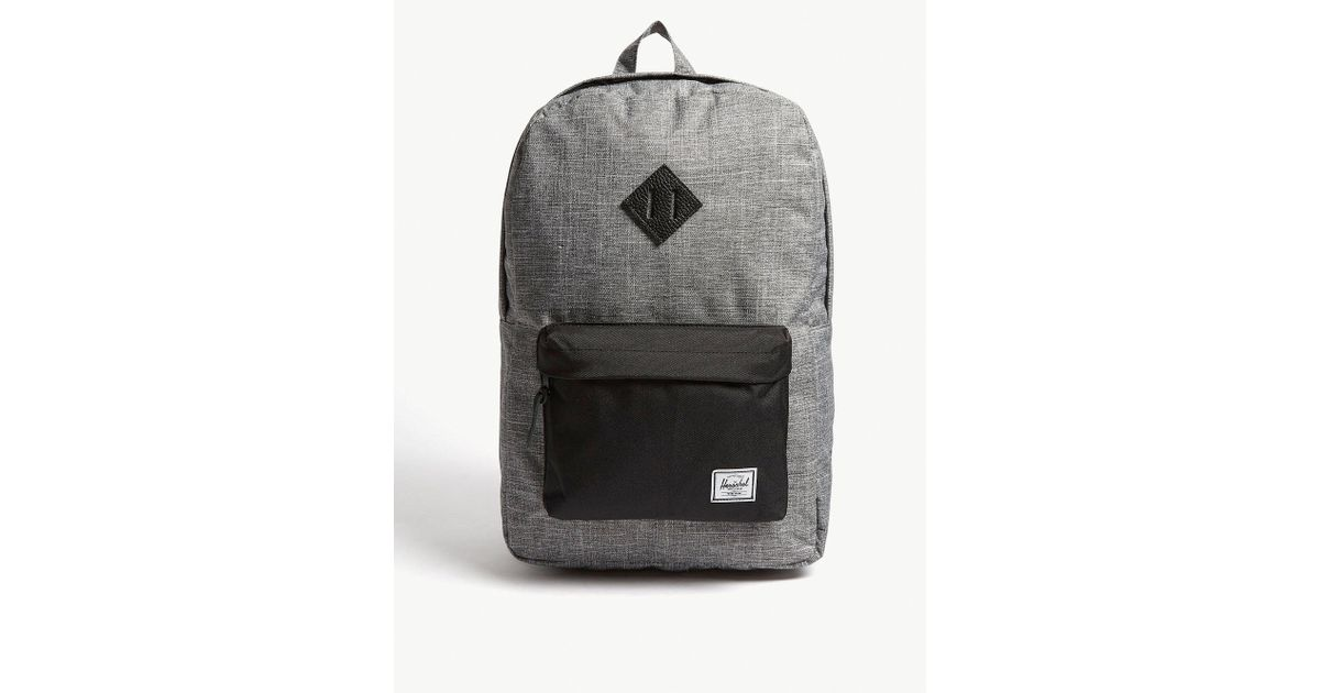 cd15d15a584 Lyst - Herschel Supply Co. . Raven Crosshatch Dark Grey And Black Woven Heritage  Canvas Backpack in Black for Men