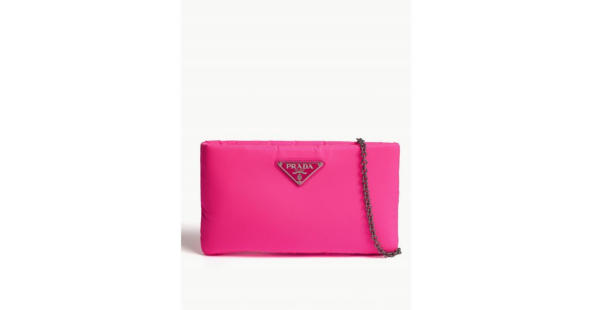 5a40e9b85423c2 Prada Fluo Large Padded Nylon Clutch in Pink - Lyst