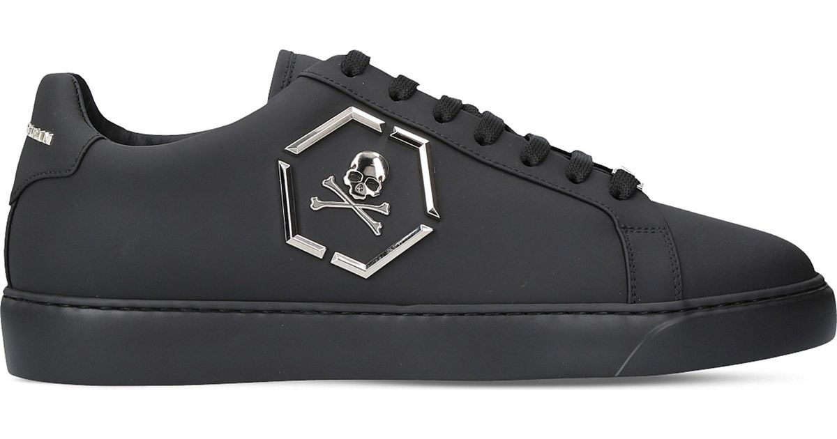 671c00da106a Lyst - Philipp Plein Skull Leather Trainers in Black for Men
