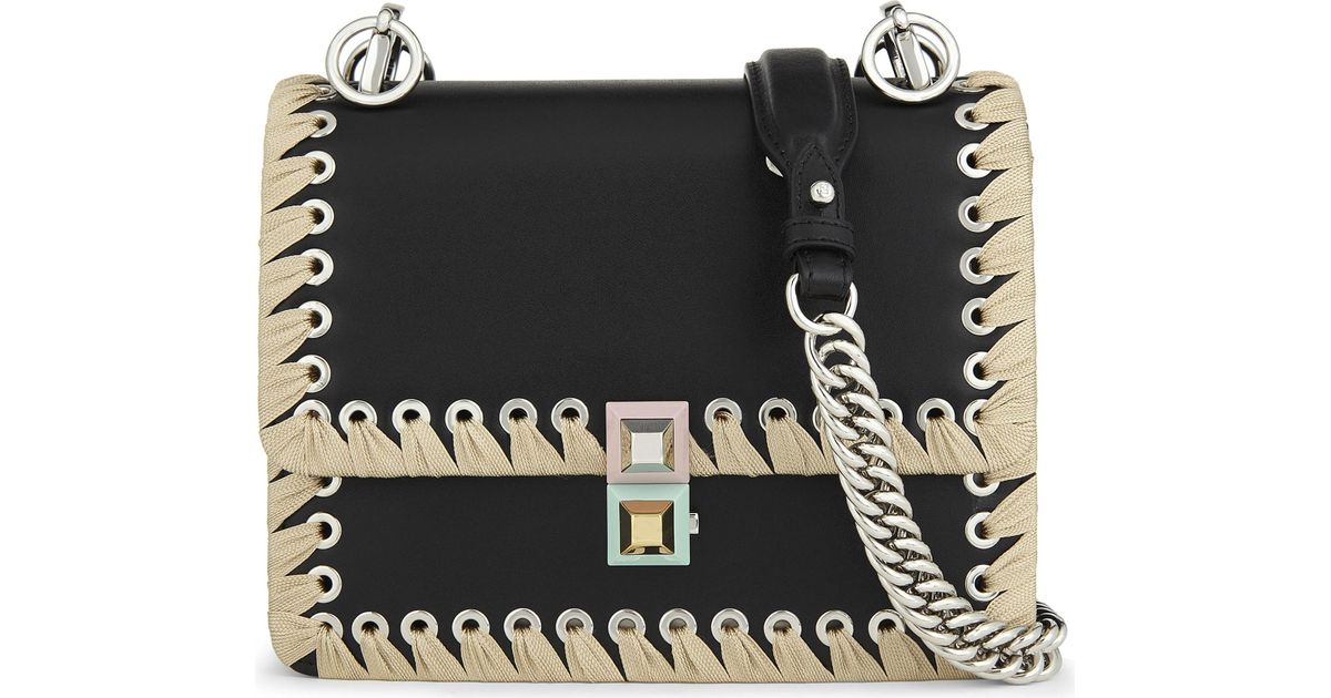 fbb47f78cd Fendi Kan I Threaded Lace Small Leather Cross-body Bag in Black - Lyst