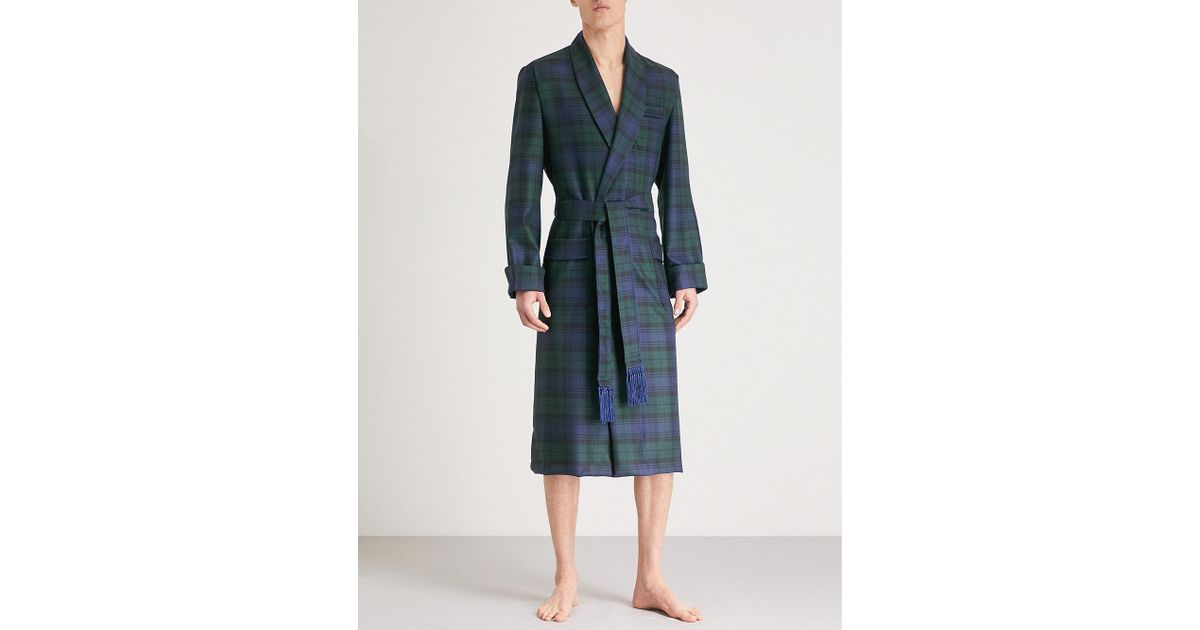 Lyst - Derek Rose Tartan Wool Dressing Gown in Blue for Men