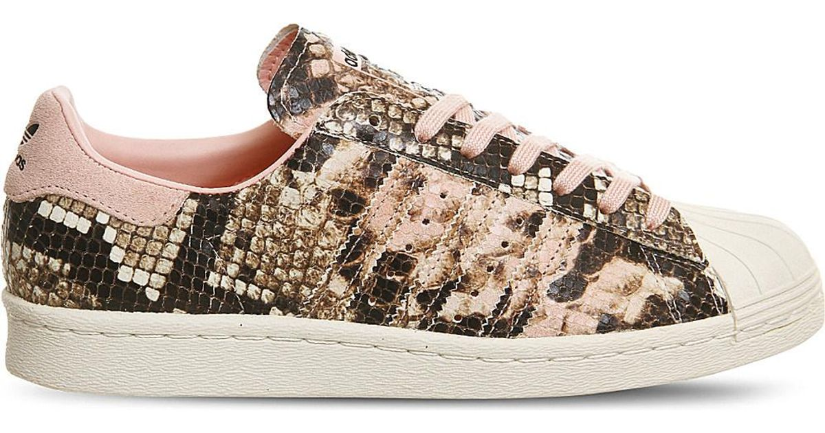adidas Originals Superstar 80s Snake-effect Leather Trainers in Pink - Lyst 96b5bc194f57
