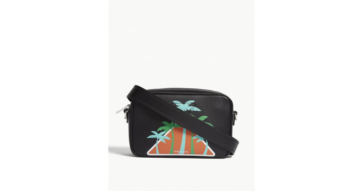 Lyst - Prada Black Palm Tree Logo Shoulder Bag in Black 7266dcd53f82c
