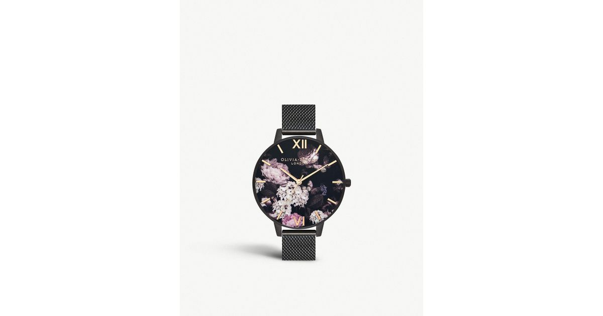 b612fbf7ec3 Lyst - Olivia Burton Ob16ad35 Signature Florals Black Stainless Steel  Quartz Watch in Gray