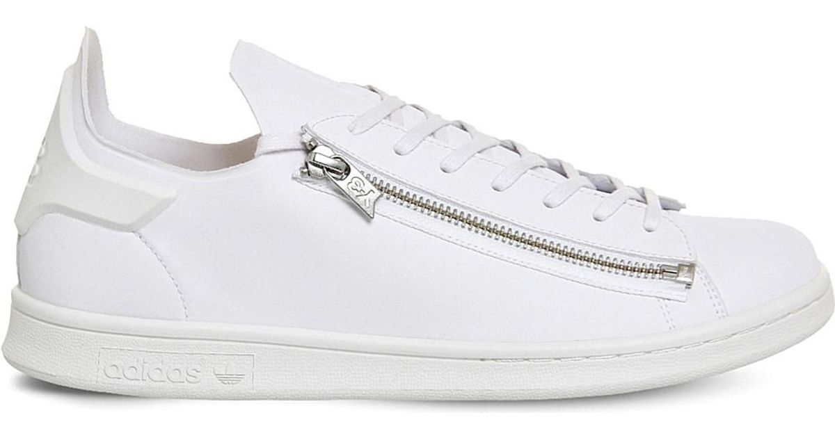 78d22647ef9d Lyst - Y-3 Y3 Stan Zip Leather Trainers in White