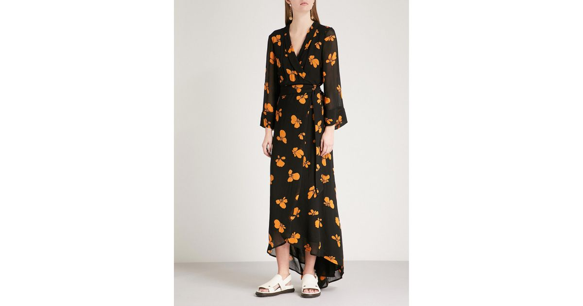 08abb324b1 Ganni Fairfax Floral-print Georgette Wrap Dress in Black - Lyst