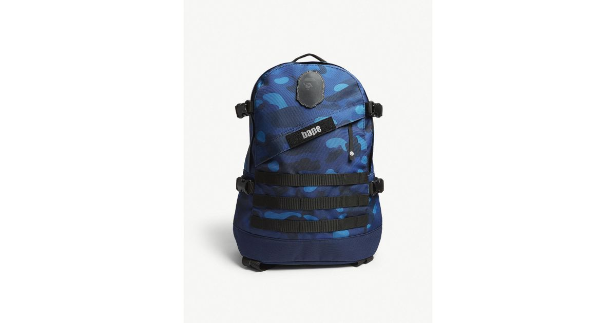Lyst - A Bathing Ape Graduation Camouflage Canvas Backpack in Blue for Men 271bd6e60a597