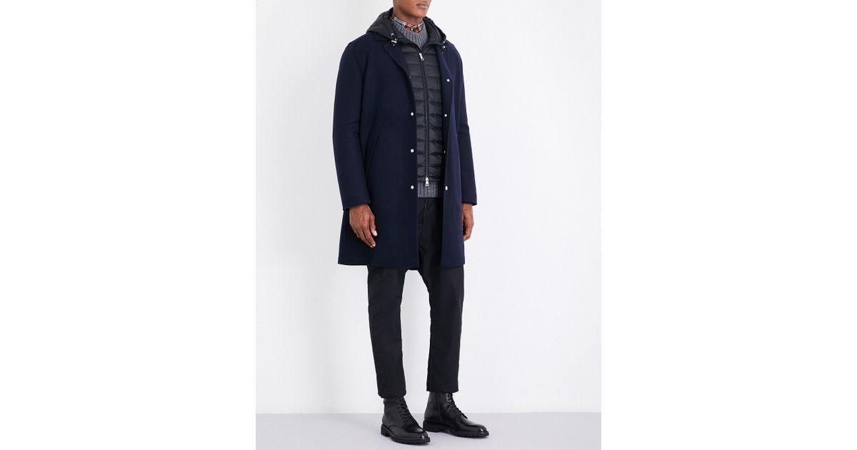 094d48719 Lyst - Moncler Raymi Wool And Cashmere-blend Coat in Blue for Men