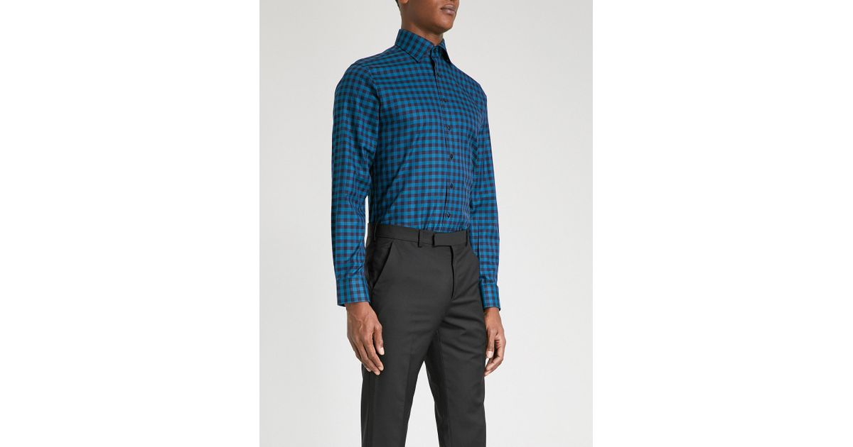 Lyst thomas pink checked super slim fit cotton shirt in for Super slim dress shirts