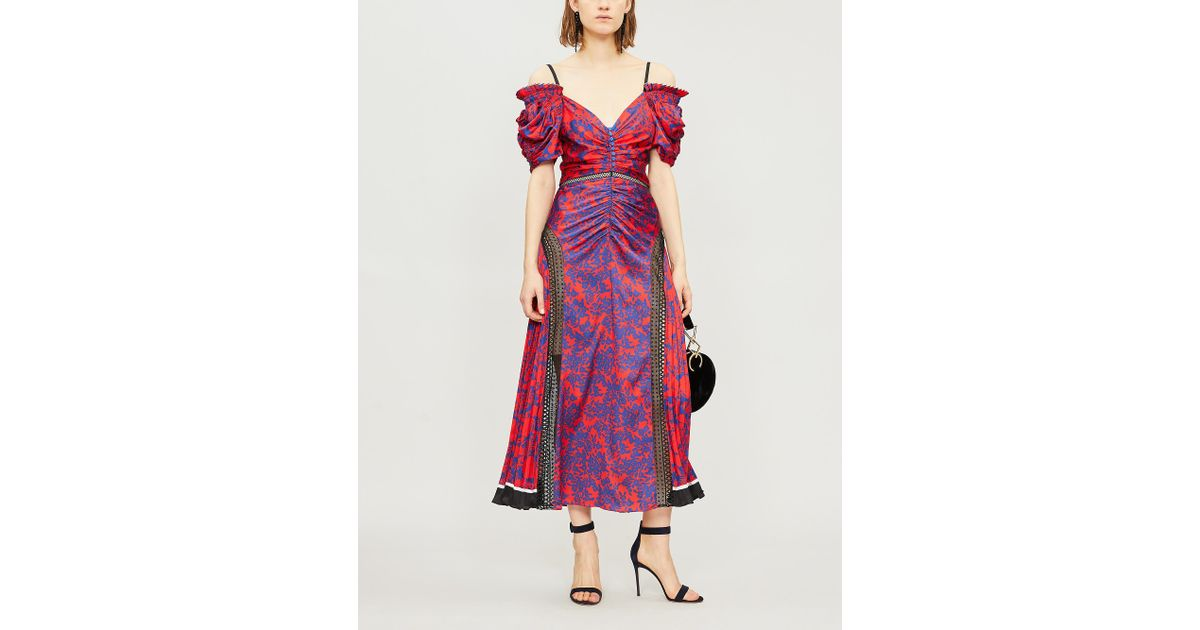7070bda5a1e9b Self-Portrait Cold-shoulder Floral-print Satin Midi Dress in Red - Save 55%  - Lyst