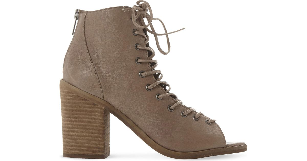 2b3ab7cb950 Lyst - Steve Madden Tempting Peep-toe Ankle Boots in Brown