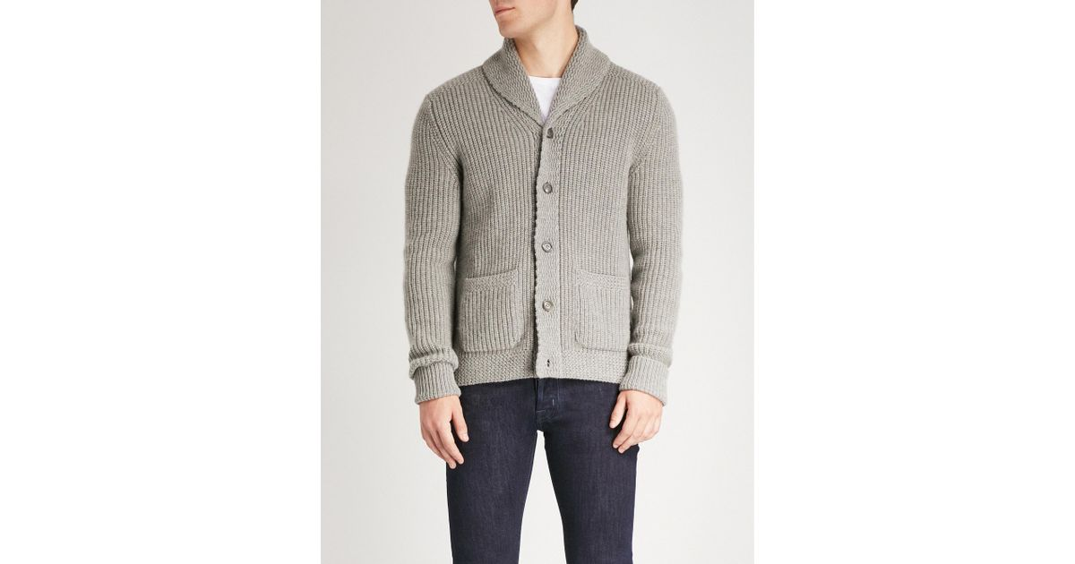 df56d4f26 Lyst - Ralph Lauren Purple Label Shawl-collar Cashmere Cardigan in Gray for  Men