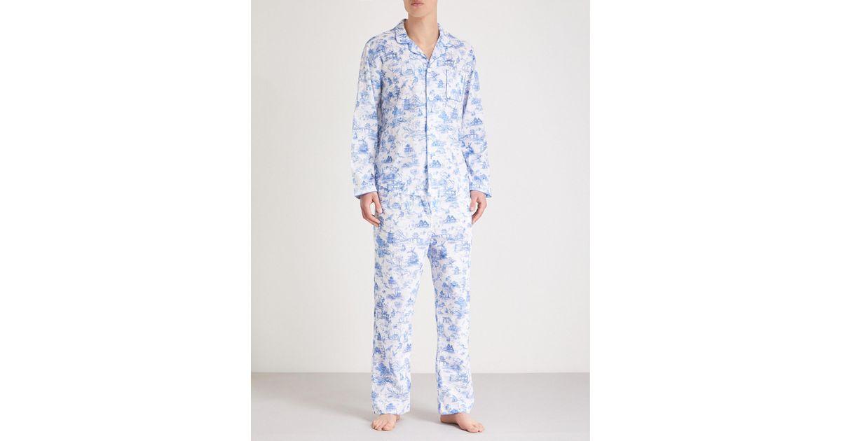 24d023256a Lyst - Derek Rose India Sketch Cotton Pyjama Set in Blue for Men
