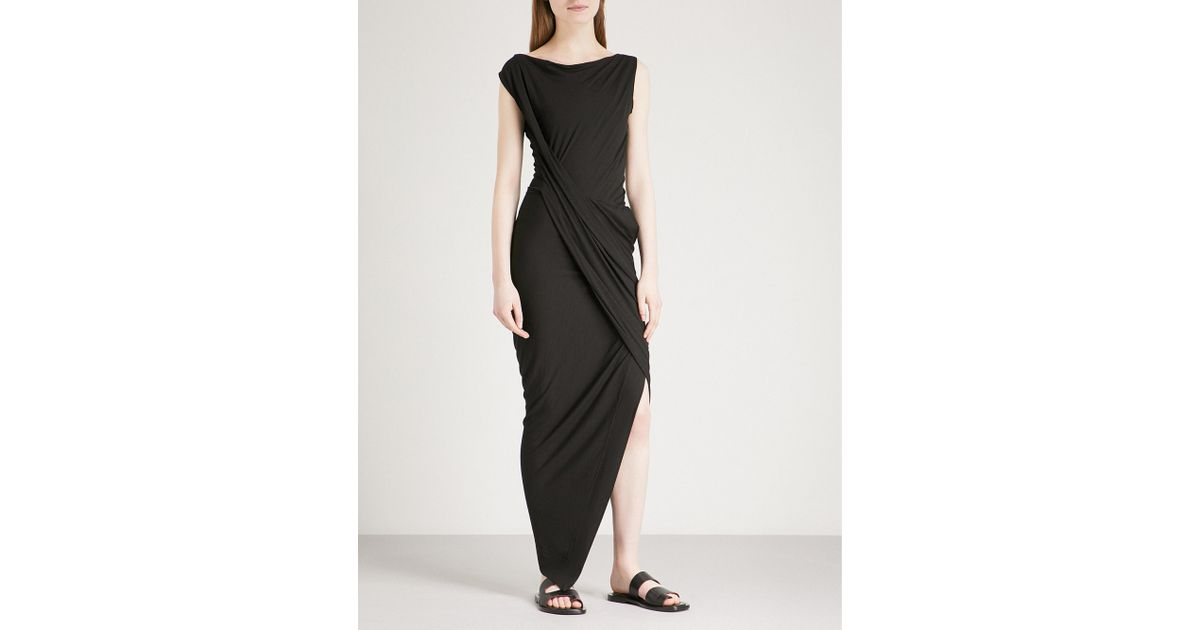cfc0c1a1282 Vivienne Westwood Anglomania Vian Draped Jersey Dress in Black - Lyst