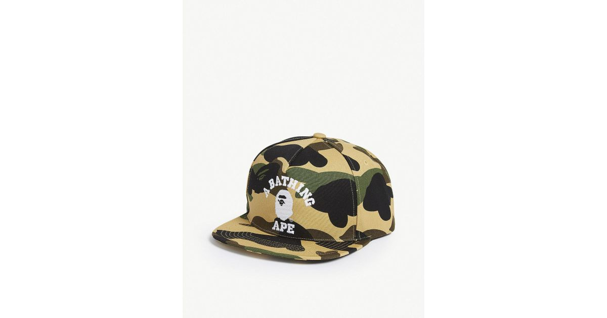 b7b44b6f1d3 Lyst - A Bathing Ape College Camouflage Snapback Cap in Yellow for Men