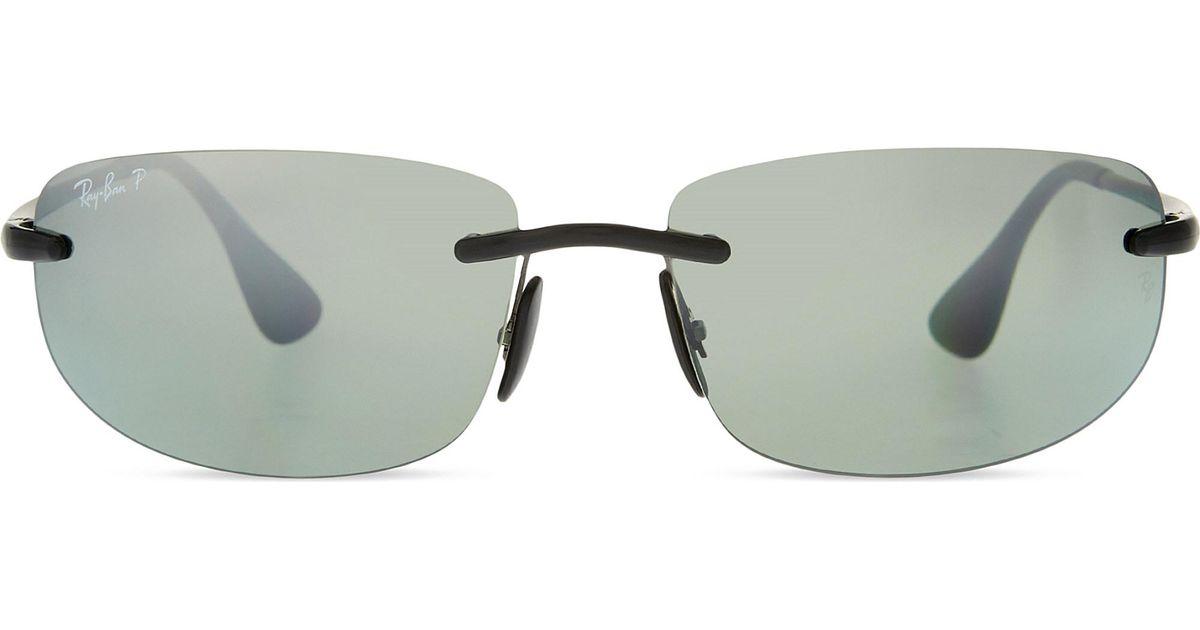 1b842dc41f Lyst - Ray-Ban Rb4254 Chromance Rectangle Sunglasses in Black
