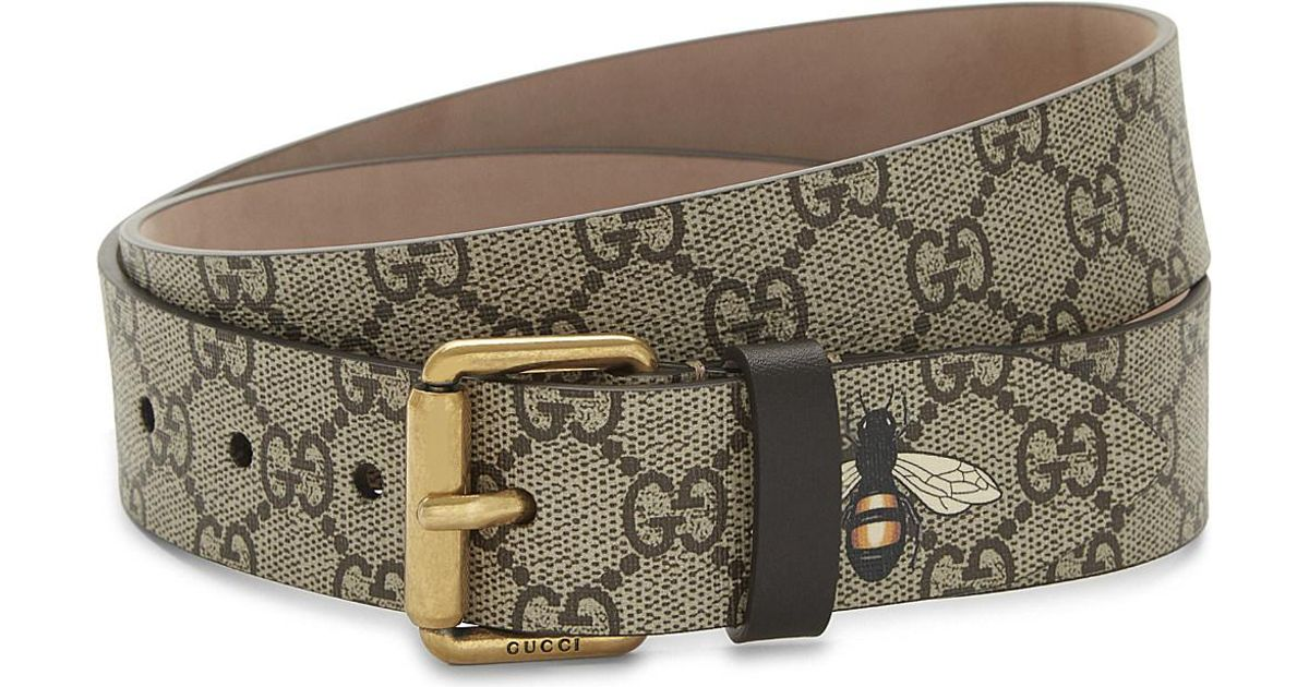 12b17a91a Gucci Bee Gg Supreme Canvas Belt in Brown - Lyst