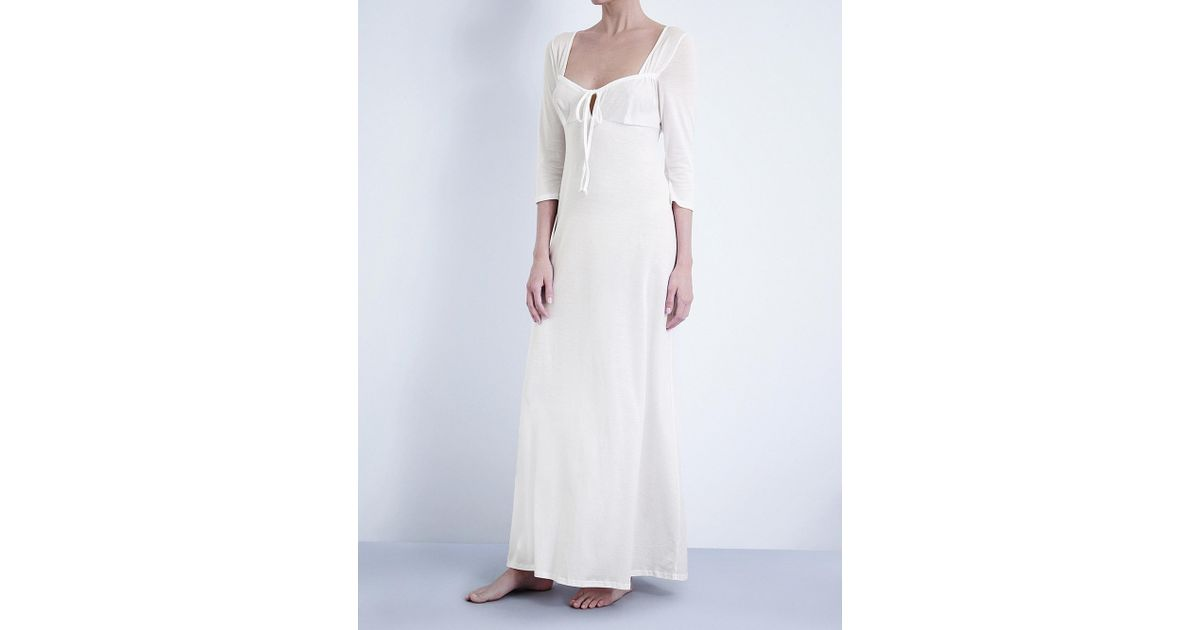 3364b3ae22 Lyst - Bodas Long Cotton-jersey Nightdress in White