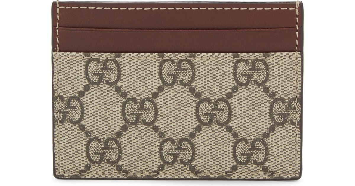 99bc8c336d73 Gucci Gg Supreme Card Holder in Natural - Lyst