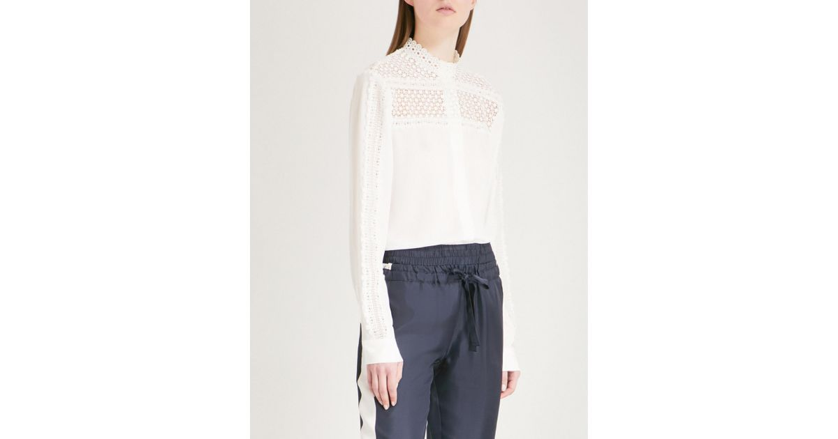 ba161da5720 The Kooples Lace-detailed Crepe Shirt in White - Lyst
