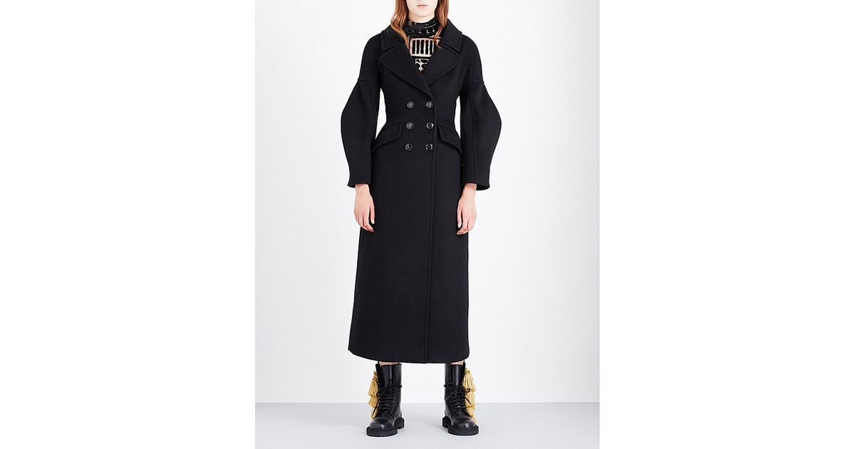 3d36c66d08 Lyst - Burberry Puff-sleeved Wool Coat in Black
