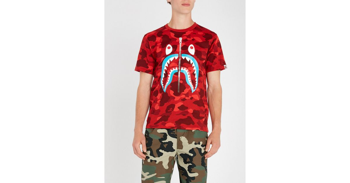 2f1bf3a2ec46 Lyst - A Bathing Ape Camo Shark Cotton-jersey T-shirt in Red for Men
