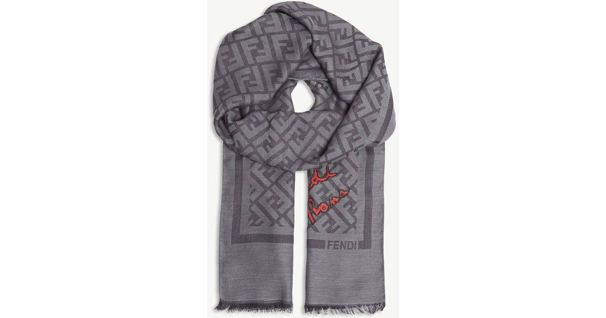 617ce29442a ... best price fendi logo silk blend scarf in gray for men lyst e5621 cb2d1