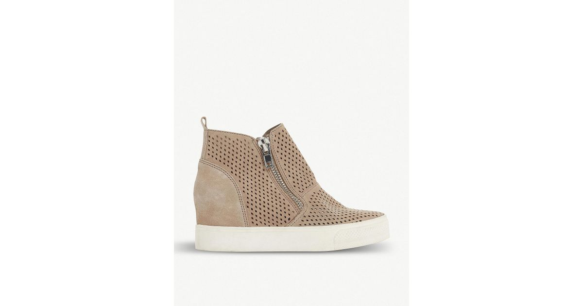 85b6986ee36 Lyst - Steve Madden Wedgie - P Perforated Suede Trainers in Brown