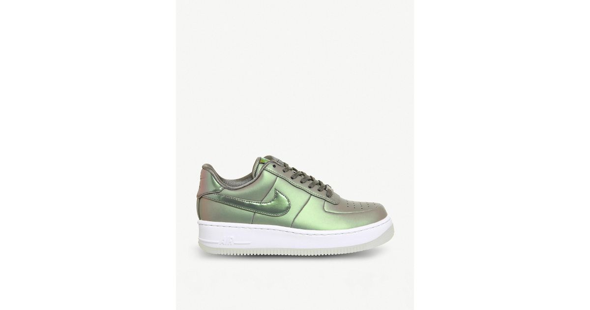 0d03bc17a5b1 Lyst - Nike Air Force 1 Upstep Iridescent Metallic Leather Trainers in Green