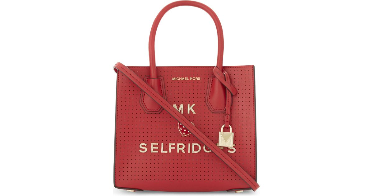 9e13e1c6f951 ... satchel selfridges eb26a 11c24 coupon code for lyst michael michael kors  mercer perforated leather cross body bag in red 5eeae ...