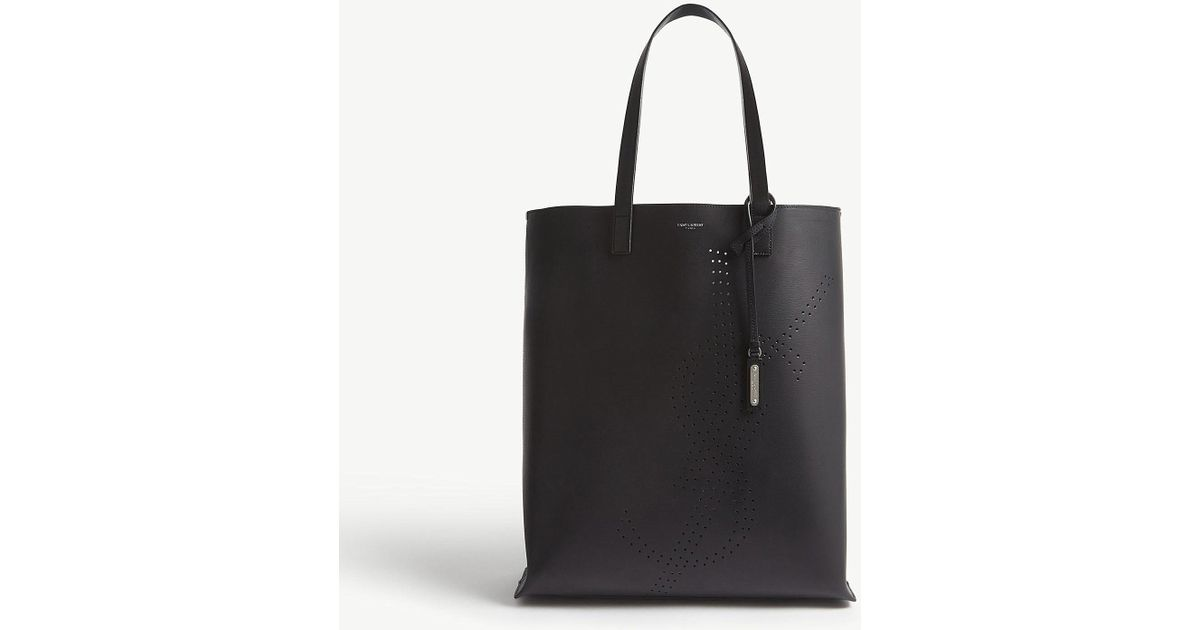 f119767ef22 Lyst - Saint Laurent Ysl Recycled Leather Tote in Black