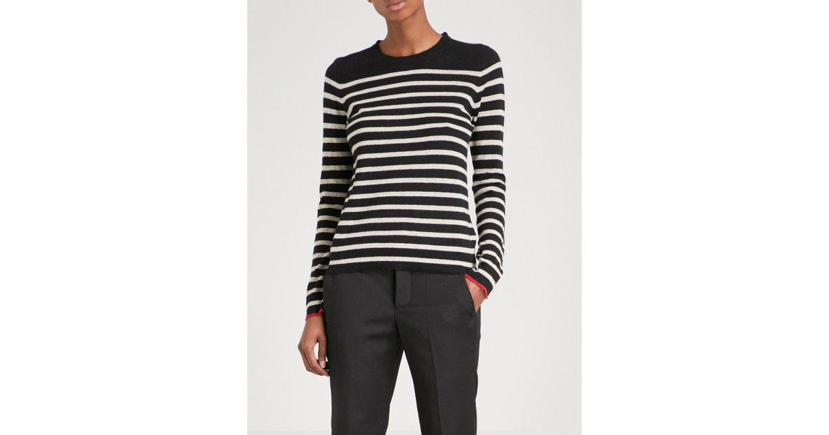 fc06c1541dd316 Zadig & Voltaire Miss Stripes Cashmere Jumper in Black - Lyst