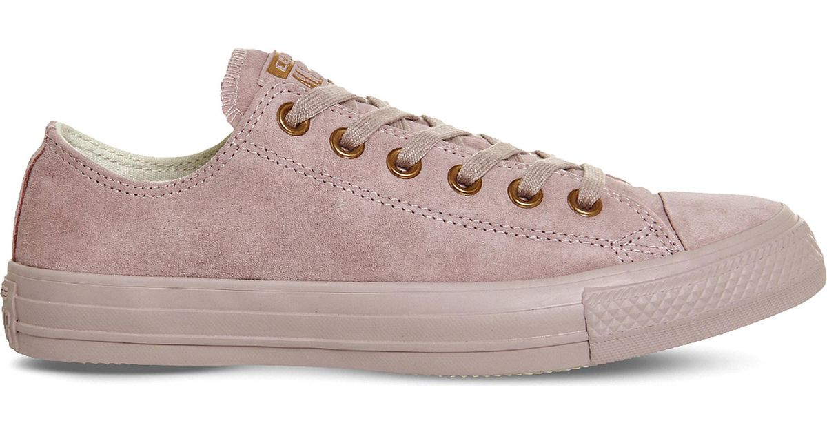 Lyst - Converse All Star Suede Low-Top Sneakers in Pink 671e75ef4e6e